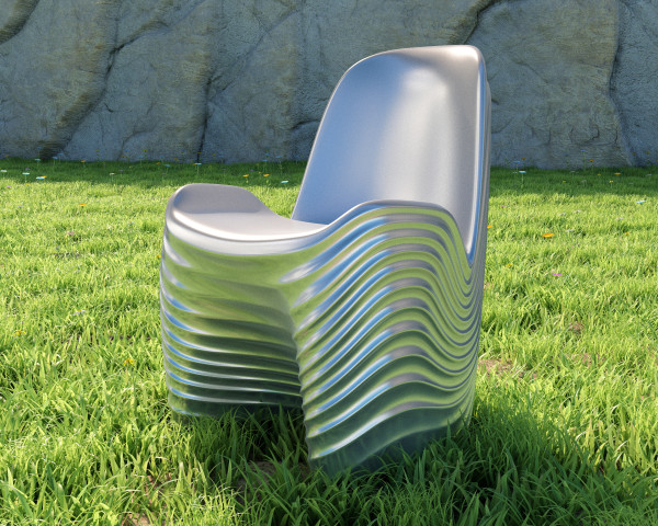 River Chair by Mac Stopa - finished in metallic silver